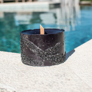 Wood Wick Candle with black stones