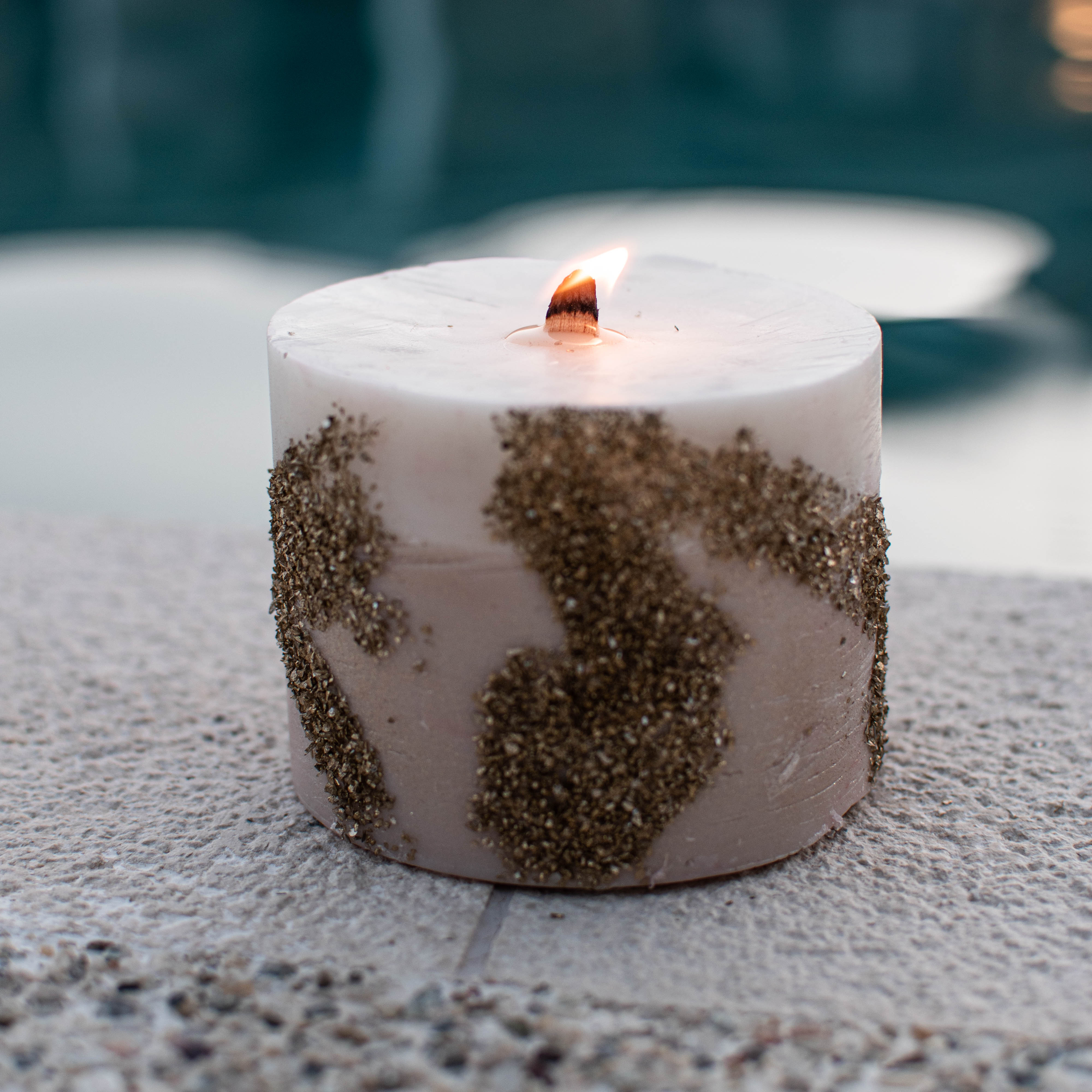 Wood Wick Candle with gold stones