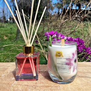 κερί με αποξηραμένα λουλούδια και αρωματικό χώρου κόκκινο με sticks